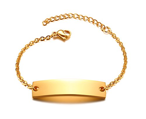 VNOX BFF Friendship Bar Bracelet Heart Bracelet,Engraving Personalized Names for Women Girls Stainless Steel Adjustable Link Bridesmaid Gifts Jewelry Best Friend Bracelets,Gold