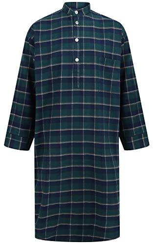 Somax - Camisón de algodón cepillado para hombre, color verde y azul marino