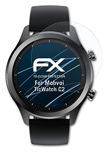 atFoliX Schutzfolie kompatibel mit Mobvoi TicWatch C2 Folie, ultraklare FX Bildschirmschutzfolie (3X)