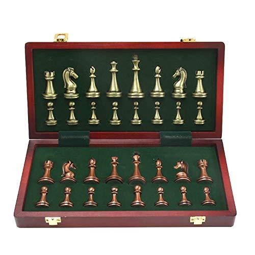 GYPPG Juego de ajedrez Estilo Staunton, Piezas de ajedrez de aleación de Zinc Hechas a Mano de Calidad con Tablero de ajedrez Plegable, ajedrez para Adultos, niños Principiantes, rompeca