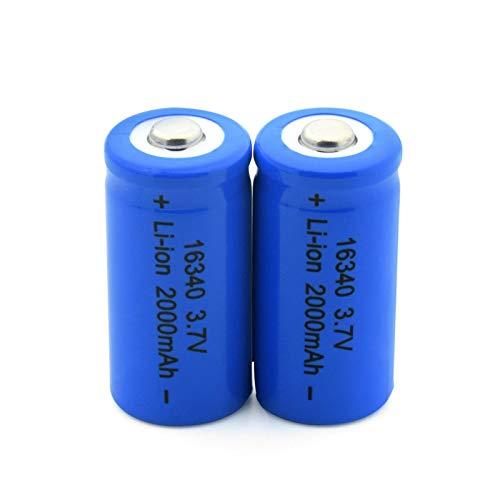 WSXYD 16340 Batería De Litio De 3.7v 2000mah, Celda De Iones De Litio Recargable para Cr123a Cr17345 K123a Vl123a Dl123a 5018lc 2pcs