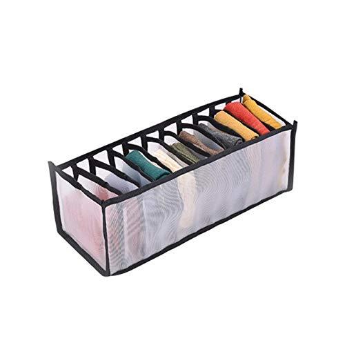 Organizador de armario de dormitorio para calcetines, separación del hogar, caja de almacenamiento de 7 tubos de malla para sujetador, organizador de cajón plegable, color negro