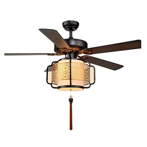 Ventilador de techo Ventilador de techo chino Luz de hoja de madera Linterna Ventilador eléctrico Candelabro Sala de estar Restaurante Ventilador Luz con luz Ventilador de techo Luces de ventilador de