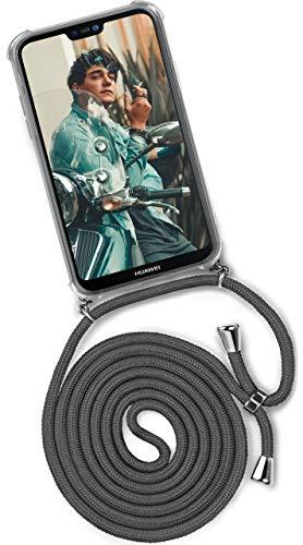 ONEFLOW® Handykette kompatibel mit Huawei P20 Lite - Handyhülle mit Band zum Umhängen Case Abnehmbar Smartphone Necklace - Hülle mit Kette, Dunkel-Grau