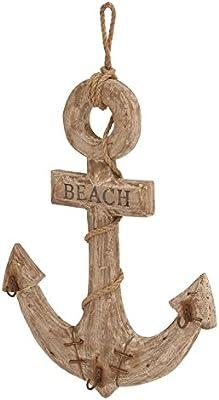 "Deco 79 Wood Anchor W Hooks 18"" H, 12"" W-38754, 18"" x 12"""