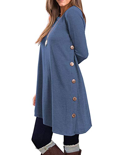 KORSIS Women's Long Sleeve Round Neck Button Side T Shirts Tunic Dress Deep Blue S
