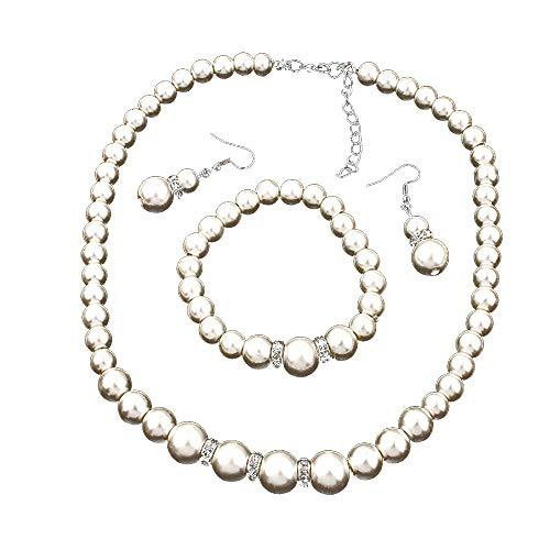 Ogquaton Collar y Pulsera de Perlas Naturales de Agua Dulce Conjunto de Joyas de Perlas