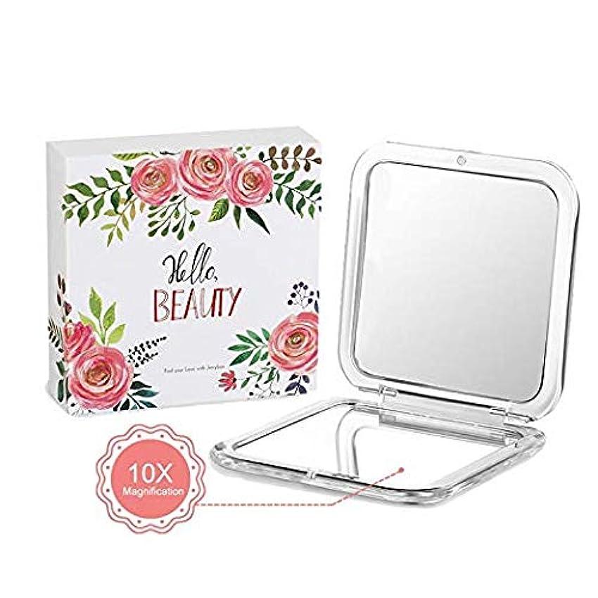 反応する切手最も遠いJerrybox コンパクト鏡 拡大鏡 両面コンパクトミラー 携帯ミラー 折りたたみ鏡 (10倍と等倍両面鏡)