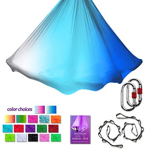 Purchase Aerial Yoga Hammock L:5M W:2.8M Aerial Pilates Silk Yoga Swing Set with 2000 Ibs Load Inclu...