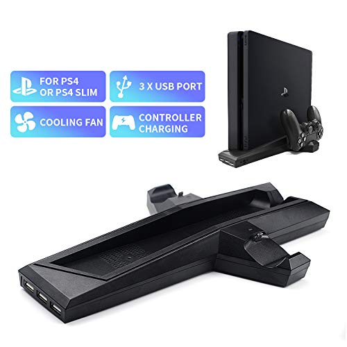 N/A Best for Cooling Fan Joystick Charge for PS4/PS4 Slim Games Vertical Stand with Dual Controller Charger Station