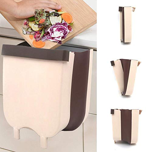 foldable trash cans Kitchen Cabinet Door Hanging Trash,Silicone Folding Trash Can,In-Cabinet Trash Can, Hanging Waste Bin Under Kitchen Sink,Hanging Trash Can Small Cabinet Kitchen Trash Can Garbage Can for Kitchen