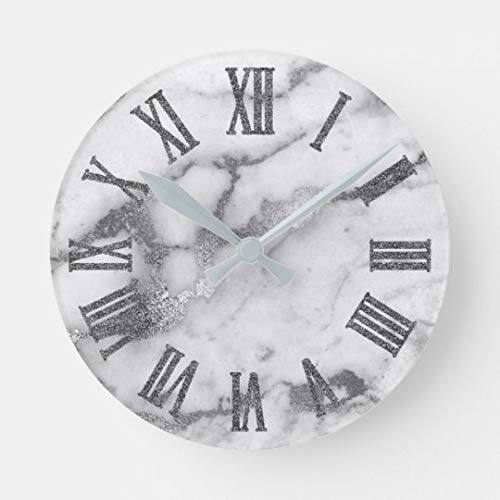 AmyyEden Wanduhren aus Marmor, silberfarben, weiß, grau, römische Zahlen, groß, dekorativ für Wohnzimmer, Küche, Schlafzimmer, Badezimmer, Zuhause, Büro, 30,5 cm