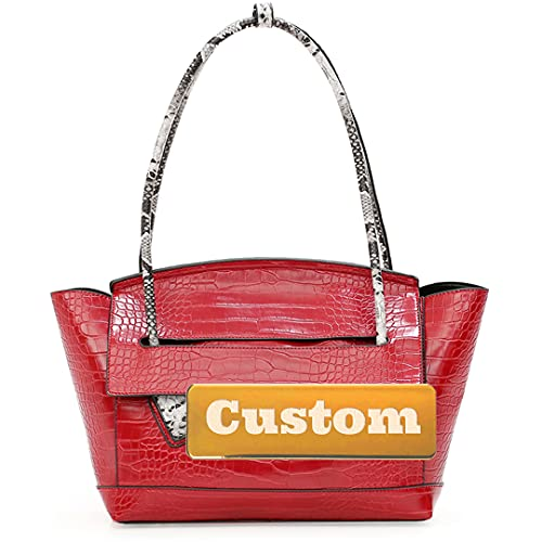 Satchel Personalizado Personalizado para Mujeres Bolsas de Asas y Bolsos de Cuero Grande Grande (Color : Red, Size : One Size)