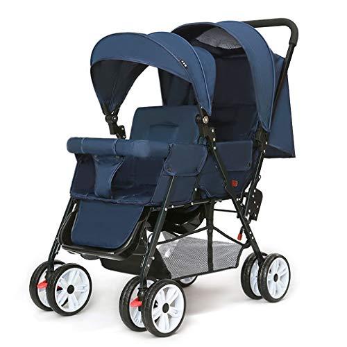 Cochecito de bebé Doble Cochecito puede sentarse y Doble Doble plegable silla de paseo con Mosquitera Toldo Cochecito de cinco puntos del cinturón de seguridad de seis ruedas del cochecito de bebé sil