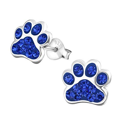 925 Sterling Silver Sapphire Blue Crystal Paw Print Stud Earrings 18872 (Nickel Free)