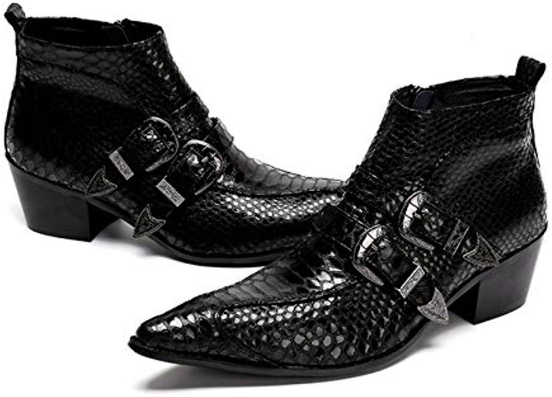 LOVDRAM Mnner Lederschuhe Mode Aus Echtem Leder Doppelmnch Straps Mnner Stiefeletten Formales Kleid Schuhe Spitz Stiefel Cowboystiefel
