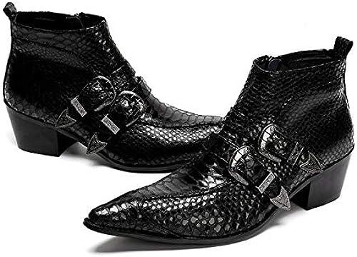 LOVDRAM Zapaños De Cuero para Hombre Moda De Cuero Genuino Doble Monje Correas De Los hombres Botines Formales Zapaños De Vestir botas De Punta Estrecha botas De Vaquero