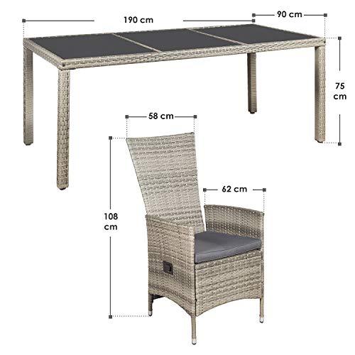 ArtLife Polyrattan Sitzgruppe Rimini Plus 9-teilig grau-meliert | Gartenmöbel Set mit Tisch, 8 Stühlen & Kissen | graue Bezüge | Rattan Balkonmöbel - 2