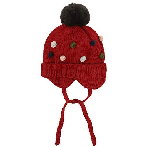 Girls' Hat Filles Chapeau, Bonnet en Laine tricotée Automne Hiver Earmuffs Enfants Cartoon coloré Balle Pom Pom Grand Elasticité - pour 10 Mois à 3 Ans Enfants (47-52cm)