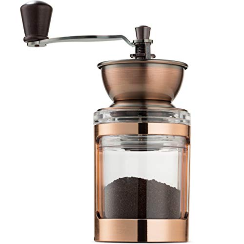 MITBAK Manual Coffee Grinder With Adjustable Settings| Sleek Hand Coffee Bean Burr Mill Great for French Press, Turkish, Espresso & More | Premium Coffee Gadgets are an Excellent Coffee Lover Gift