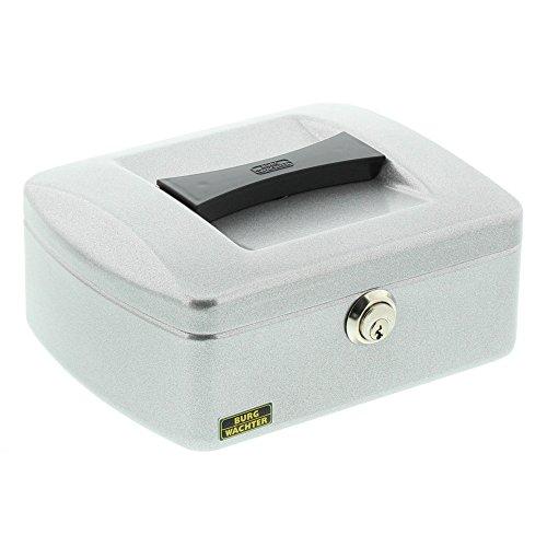 Burg-Wächter Geld-Kassette mit Hartgeldeinsatz, Mit Präzisions-Zylinderschloss, Stahlblech, Business 7200, Silber