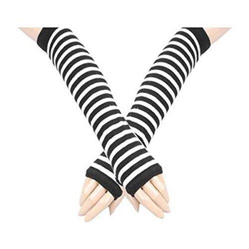 guanti lunghi bianchi Kingwin - Copribraccio a mezze dita a righe
