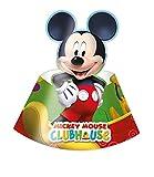 amscan 81516 Pack 6 Gorros Mickey Mouse, cartón, Multicolor