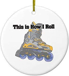 Delia32Agnes How I Roll (Roller Blades/Inline Skates) Christmas Ornaments Ceramic Double Sided Christmas Tree Decorations Hanging 3 Inches
