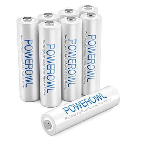 Akku AAA POWEROWL AAA Akkus NI-MH AAA Wiederaufladbare Batterien Aufladbare Batterie Akkubatterien (1.2v Geringe Selbstentladung,1000mAh) 8 Stück