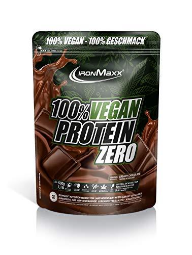 IronMaxx Vegan Protein Zero – veganes Proteinpulver aus hochwertigen, pflanzlichen Proteinquellen - 3 Komponenten Eiweißpulver ohne Soja und zuckerfrei – Creamy Chocolate – 1 x 500g