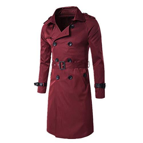 Herren Trenchcoat Klassisch Trenchcoat Zweireiher Lang Slim Mantel Verstellbar Gürtel Manschetten Gr. L, rot