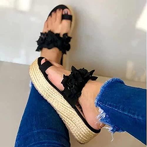 Liumintoy Mujer Sandalias Planas Verano Bohemia Flor Casuales de Playa Elegantes Chanclas Damas Zapatos Cómodas Sandalia de Plataforma,Negro,39 CN