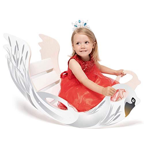 """Kinder Wippschaukel """"Swan"""" aus Holz – handgefertigt, ideal zum Balancieren, fördert Motorik und Körpergefühl, für Buben und Mädchen ab 12 Monaten"""