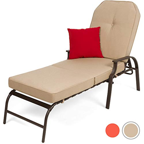 Best Choice Products Adjustable Outdoor Chaise Lounge Chair Furniture for Patio, Poolside w/UV-Resistant Cushion - Beige