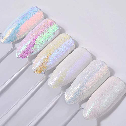Nail Gilter latest 6pcs Limited Special Price Set White Powder Glitter Holographic Color