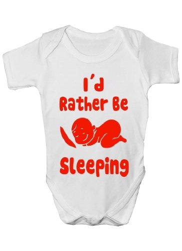 I D Rather Be sommeil Funny Cadeau Body pour bébé fille/garçon Sans manches pour bébés - Blanc - 6-12 mois
