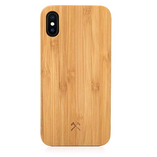 Woodcessories – Carcasa, Funda Compatible con iPhone XS MAX, de Madera Real, EcoCase Classic (Bambú/Negro)