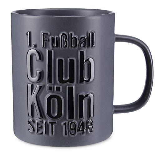 1. FC Köln Tasse - Relief schwarz - 3D Kaffeetasse anthrazit Pott Becher Mug - Plus Lesezeichen I Love Köln
