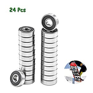 PurDream 24 PCS Bearings for Skateboards, Longboards, Roller Skates, Inline Skates, Spinners, Double Shielded, 608-2RS Ball Bearing Deep Groove Ball Bearing