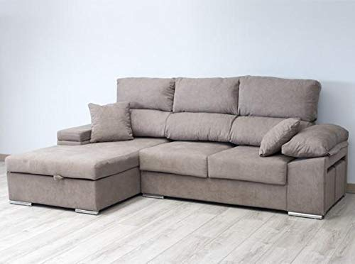 Muebles Baratos Sofa Chaise Longue Tres plazas 270 cms, Subida A Domicilio, Color Marrón, ref-03