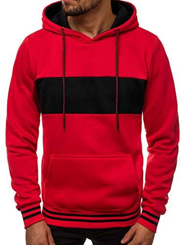 OZONEE Herren Kapuzenpullover Sweatshirt Sweatjacke Sportjacke Pullover Pulli Basic Klassiker Longsleeve Kapuze JS/11039 ROT 2XL