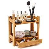 EZOWare 2 Niveles Estante Organizador de Madera Bambu con Cajón para Maquillaje, Cocina, Baño, Cosméticos, Joyería, Escritorio, Oficina