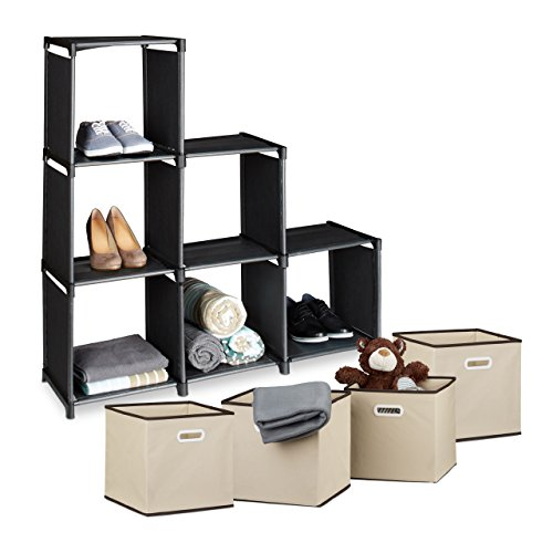 5 teiliges Aufbewahrungs Set, Stufenregal schwarz, 6 Fächer, einfaches Stecksystem, Faltboxen 2er...