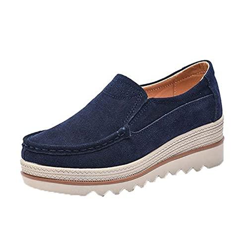 Zapatos de Plataforma de Ocio sin Cordones para Mujer Zapatos de Trabajo de cuña de Primavera y otoño súper Ligeros para Uso Diario al Aire Libre Creepers de Gamuza