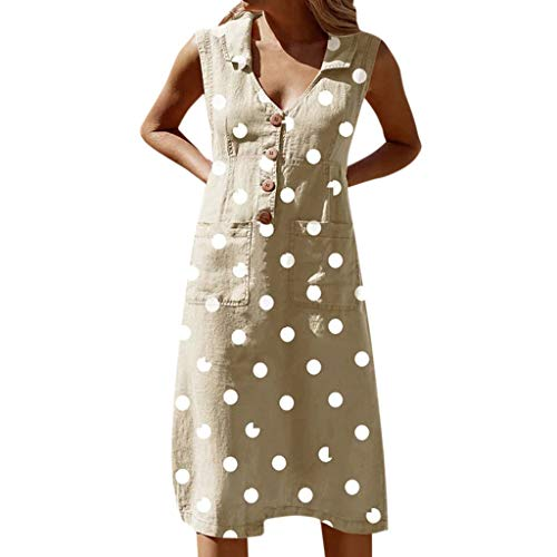 RISTHY Mujer Verano De Playa Vestido De Lino De Verano Vestido Lunares Mujer Camiseta Algodón Casual Tallas Grandes Vestido De Señoras Sin Mangas Vestidos De Playa