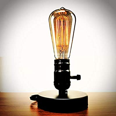 YUANKANG Edison Desk Lamp, Vintage Table Lamp Base, E26 E27 Industrial Retro Loft Light with Plug in Cord On/Off Switch, Bedside Lamp Holder, Home/Office/College Dorm Lighting Decor, Black (No Bulb)