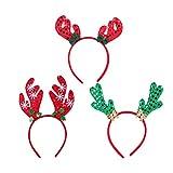Lurrose 3pcs Christmas Headbands Cute Sequin Snowflake Elk Antler Cactus Hairband Hair Hoops Party Festival Headwear Xmas Gifts for Women Girls Kids