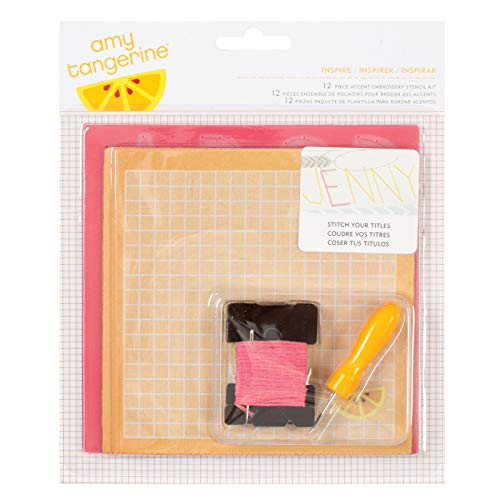 American Crafts Amy Tangerine Crafting Kits Embroidery Alphabet Stencil Kit - 6-Piece Set