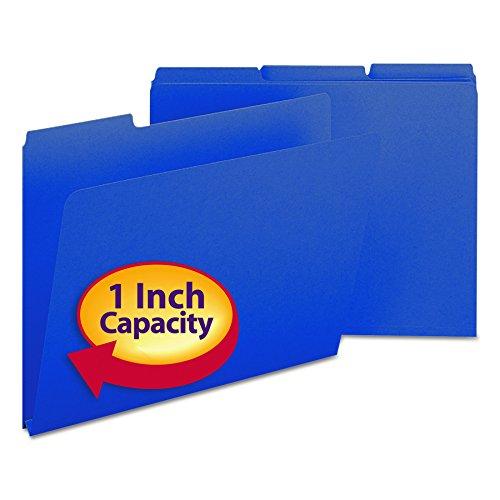 "Smead Pressboard File Folder, 1/3-Cut Tab, 1"" Expansion, Letter Size, Dark Blue, 25 per Box (21541)"
