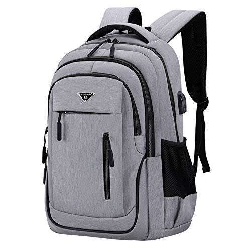 Big Capacity Men Laptop 15.6 Oxford Gray Solid High School Bags Teen College Student Back Pack Multifunctional Bagpack